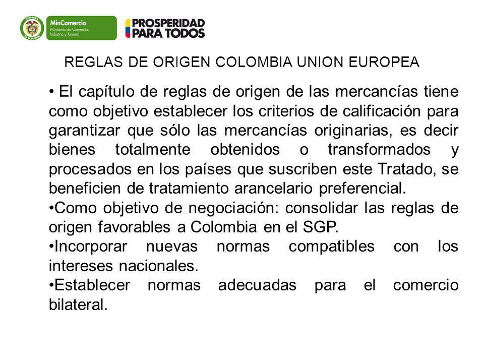 REGLAS DE ORIGEN COLOMBIA UNION EUROPEA