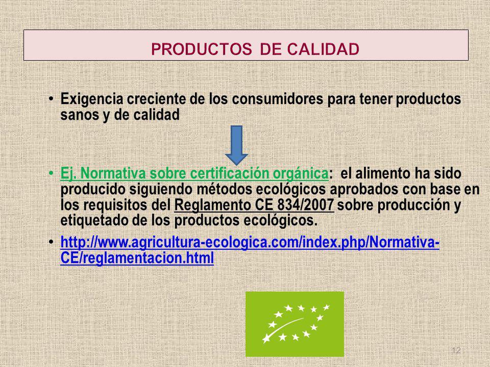 PRODUCTOS DE CALIDAD Exigencia creciente de los consumidores para tener productos sanos y de calidad.