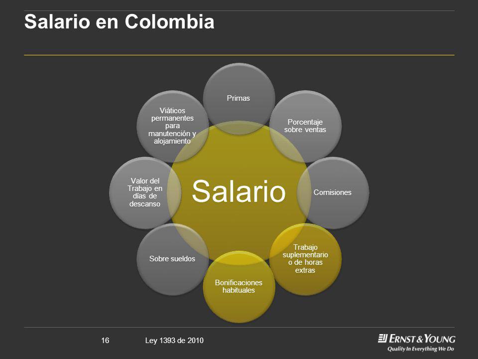 Salario en Colombia Salario Primas Porcentaje sobre ventas Comisiones