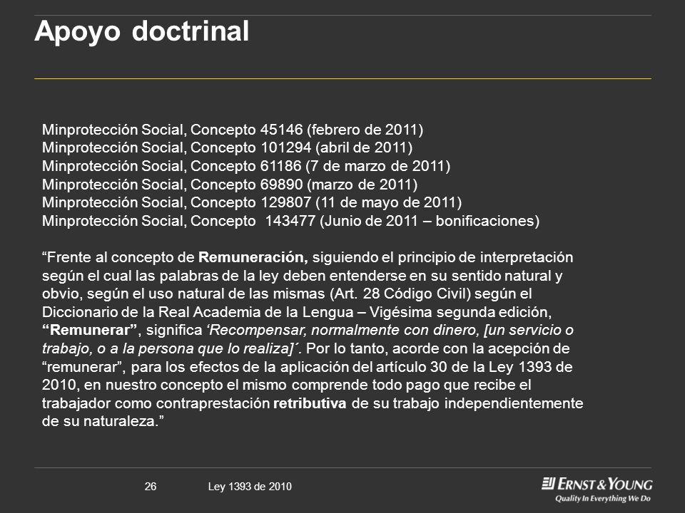 Apoyo doctrinal Minprotección Social, Concepto 45146 (febrero de 2011)