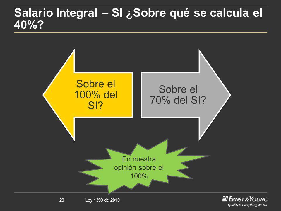 Salario Integral – SI ¿Sobre qué se calcula el 40%