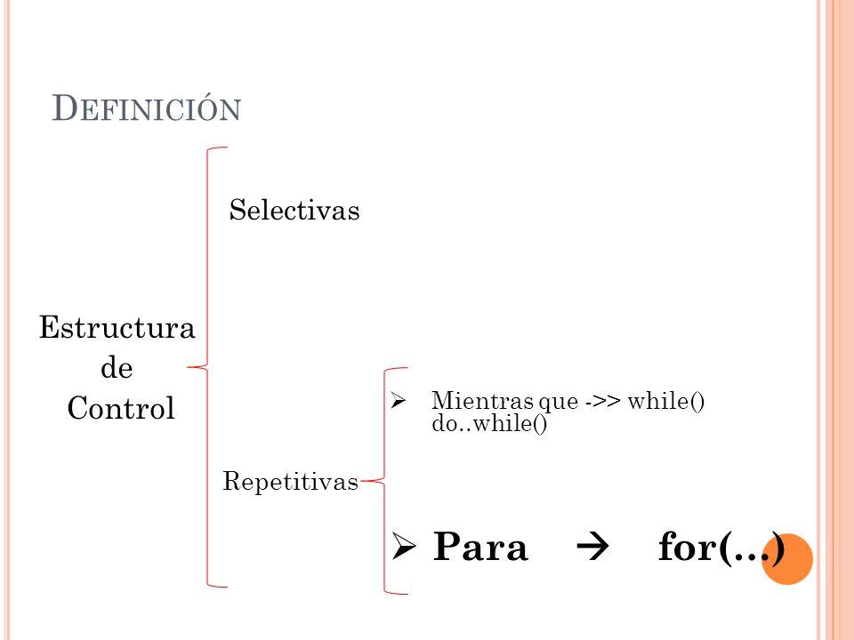 Para  for(…) Definición Estructura de Control Selectivas Repetitivas