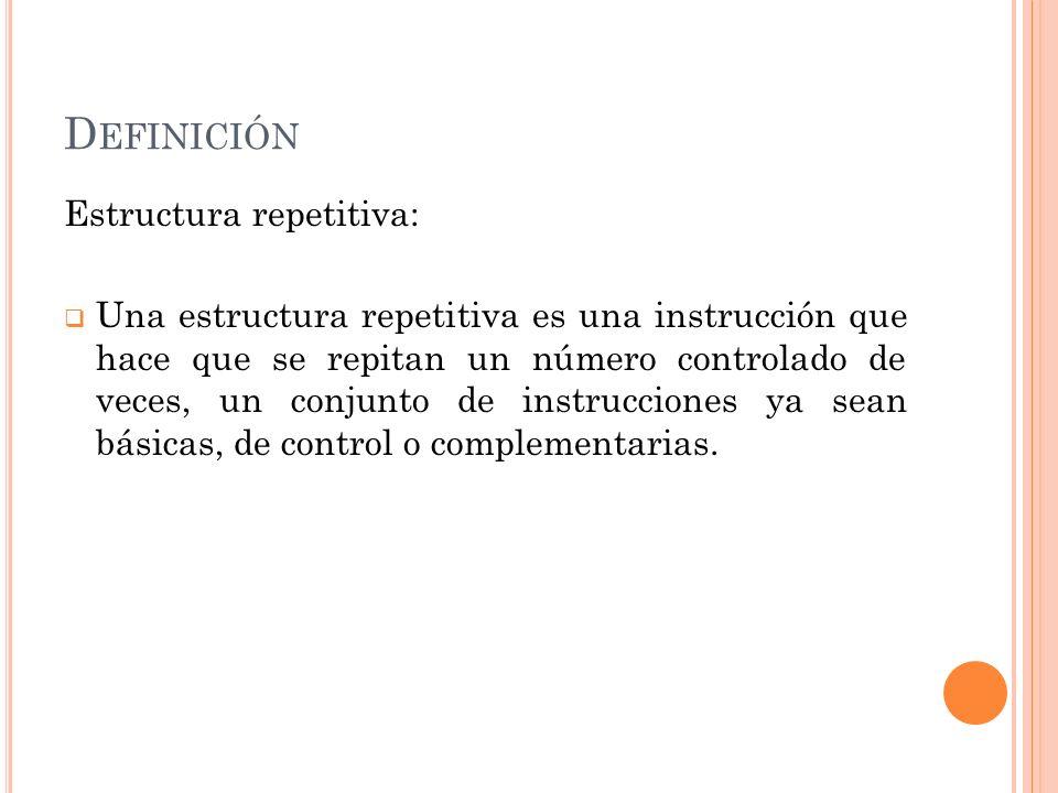 Definición Estructura repetitiva:
