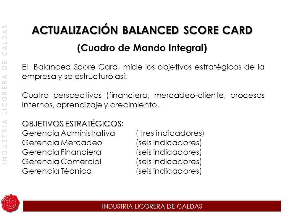 ACTUALIZACIÓN BALANCED SCORE CARD (Cuadro de Mando Integral)