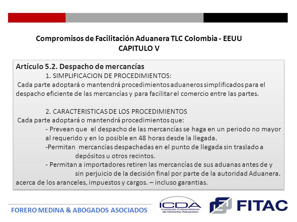 Compromisos de Facilitación Aduanera TLC Colombia - EEUU