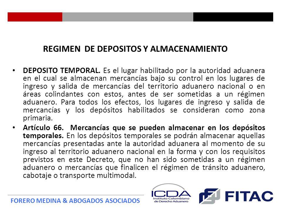 REGIMEN DE DEPOSITOS Y ALMACENAMIENTO