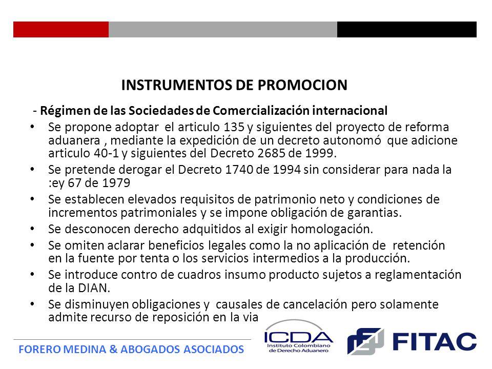 INSTRUMENTOS DE PROMOCION