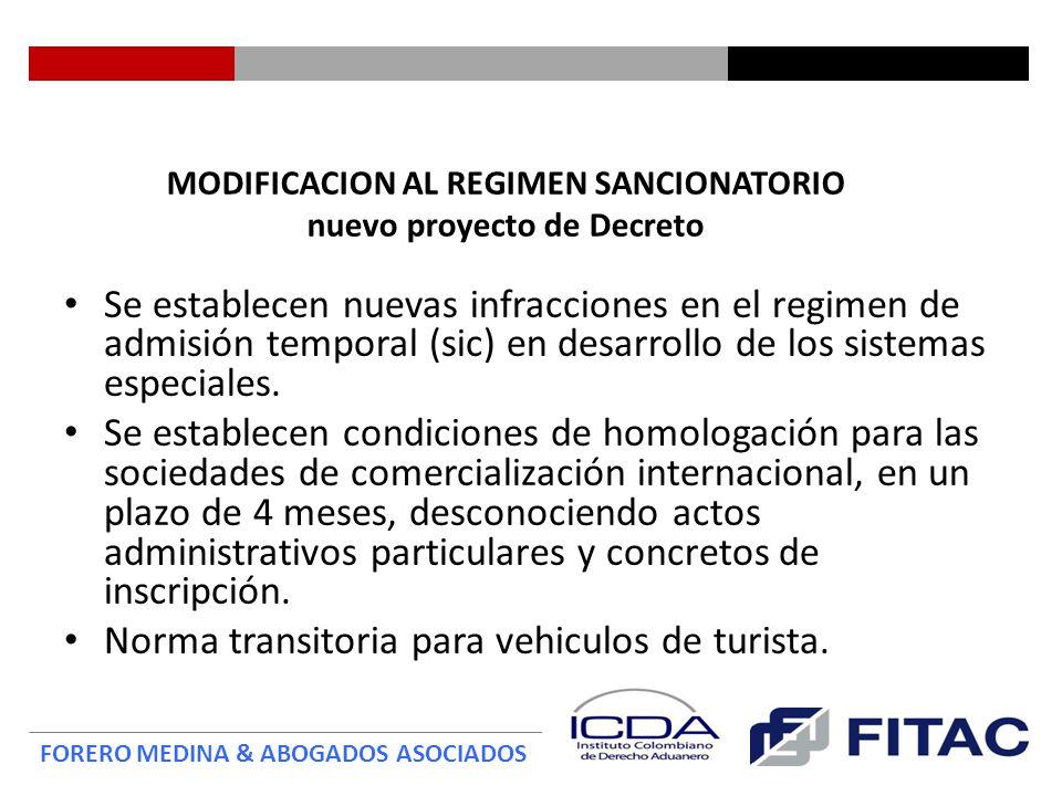 MODIFICACION AL REGIMEN SANCIONATORIO nuevo proyecto de Decreto