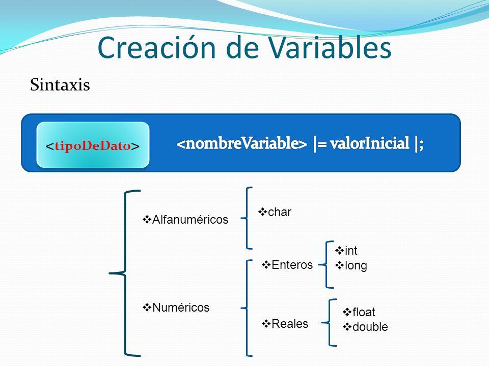tipoDeDato <nombreVariable> |= valorInicial |;