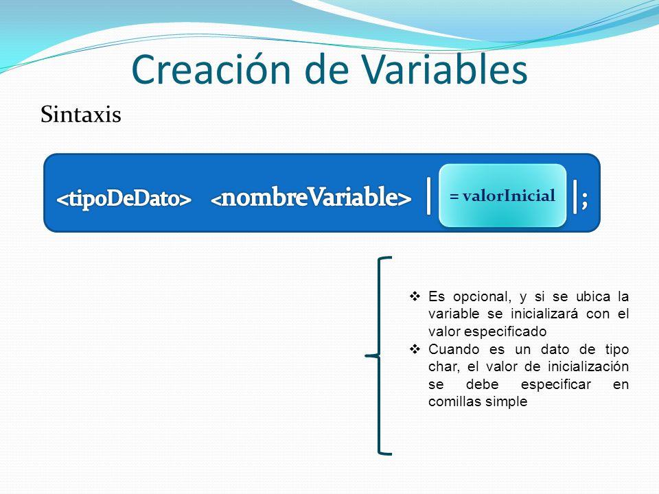 <tipoDeDato> <nombreVariable> | = valorInicial |;