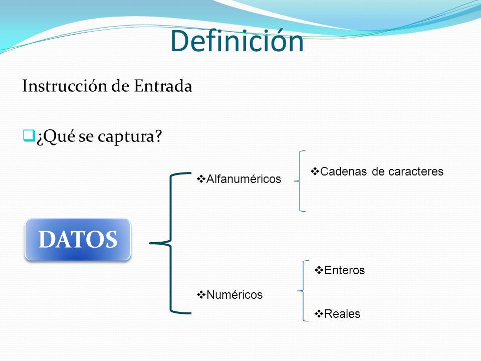 Definición DATOS Instrucción de Entrada ¿Qué se captura