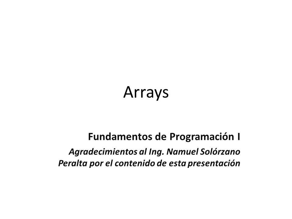 Arrays Fundamentos de Programación I