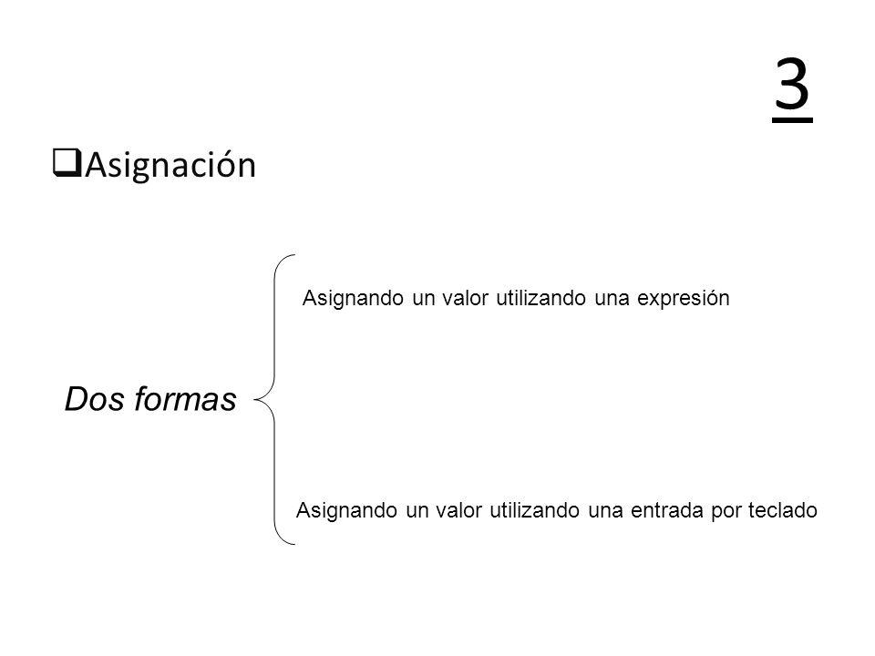 3 Asignación Dos formas Asignando un valor utilizando una expresión