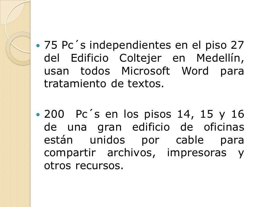 75 Pc´s independientes en el piso 27 del Edificio Coltejer en Medellín, usan todos Microsoft Word para tratamiento de textos.