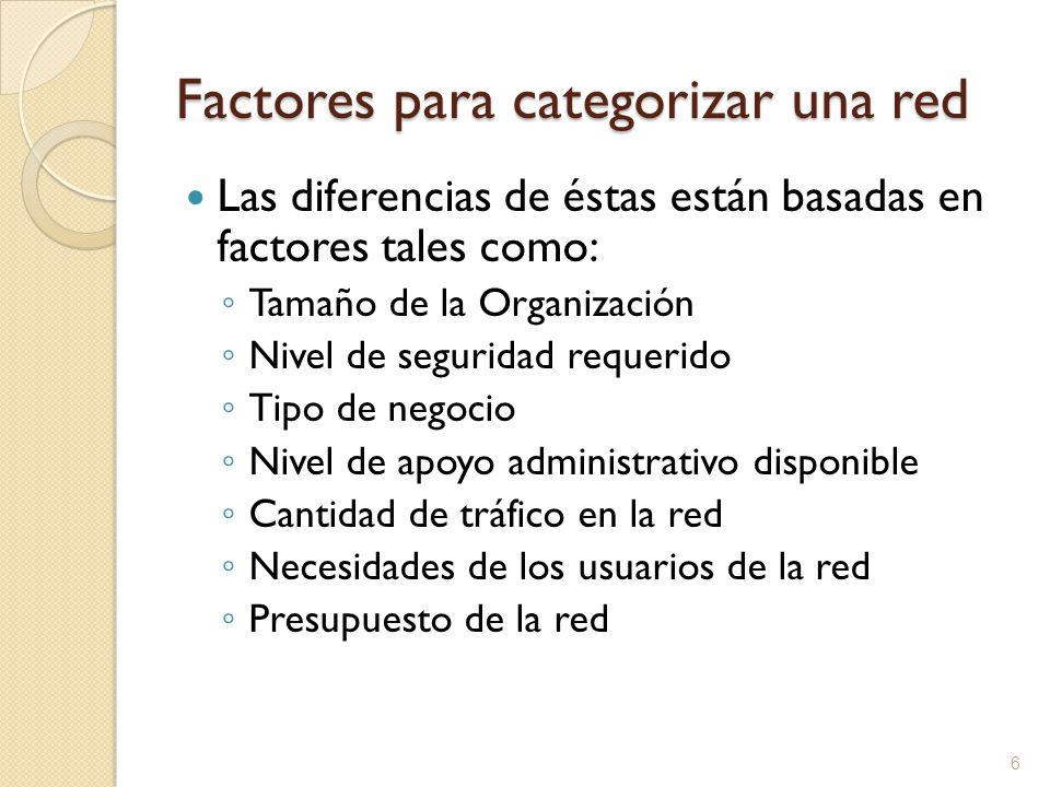 Factores para categorizar una red