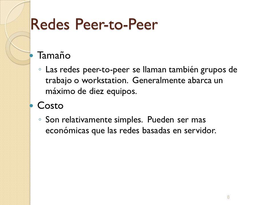 Redes Peer-to-Peer Tamaño Costo