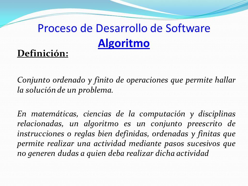 Proceso de Desarrollo de Software Algoritmo