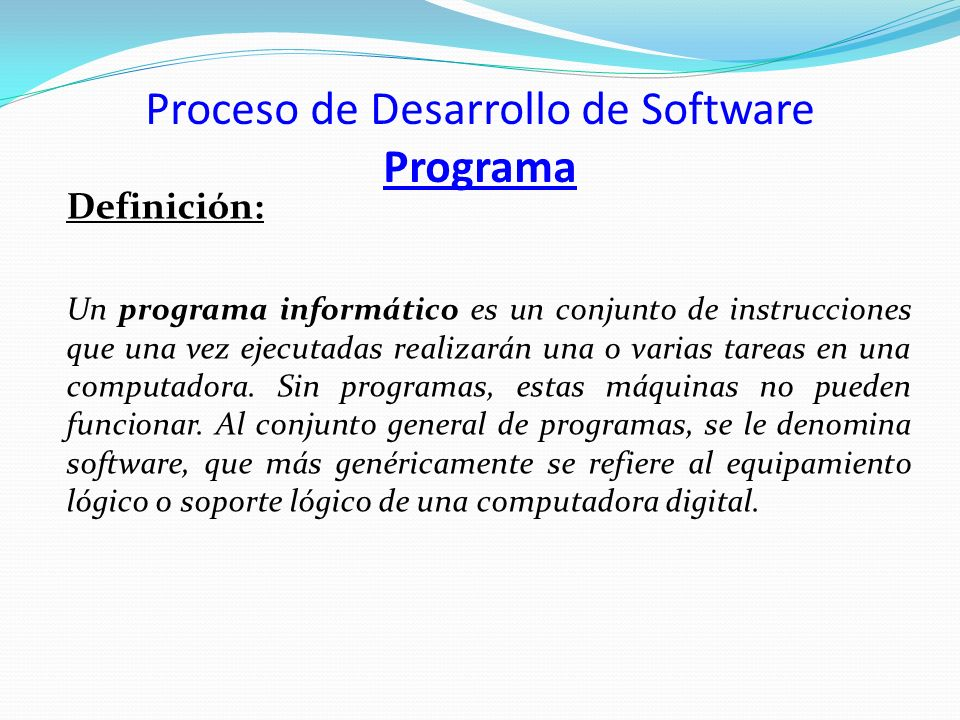 Proceso de Desarrollo de Software Programa