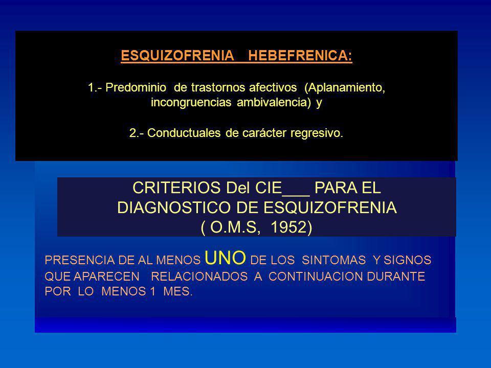 CRITERIOS Del CIE___ PARA EL DIAGNOSTICO DE ESQUIZOFRENIA