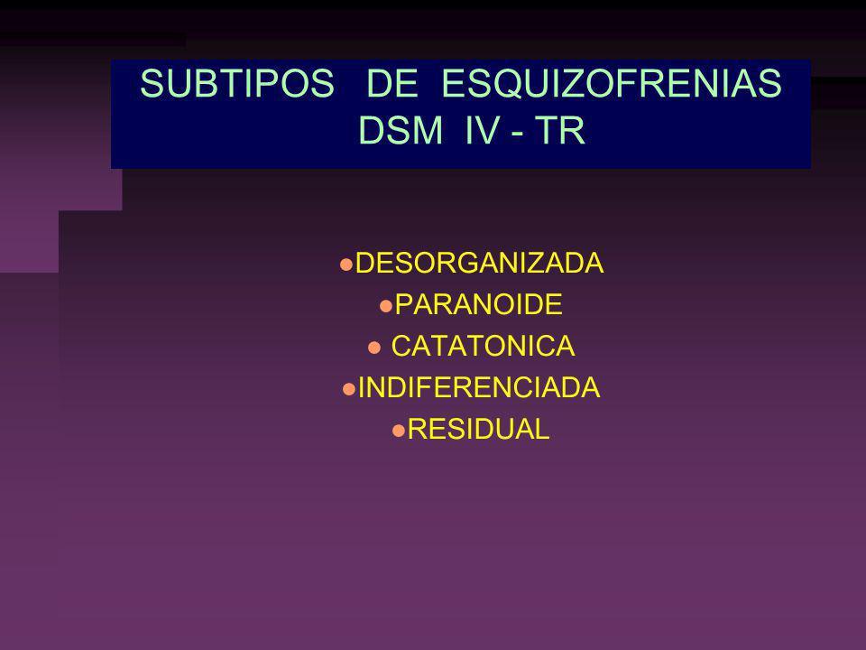 SUBTIPOS DE ESQUIZOFRENIAS DSM IV - TR
