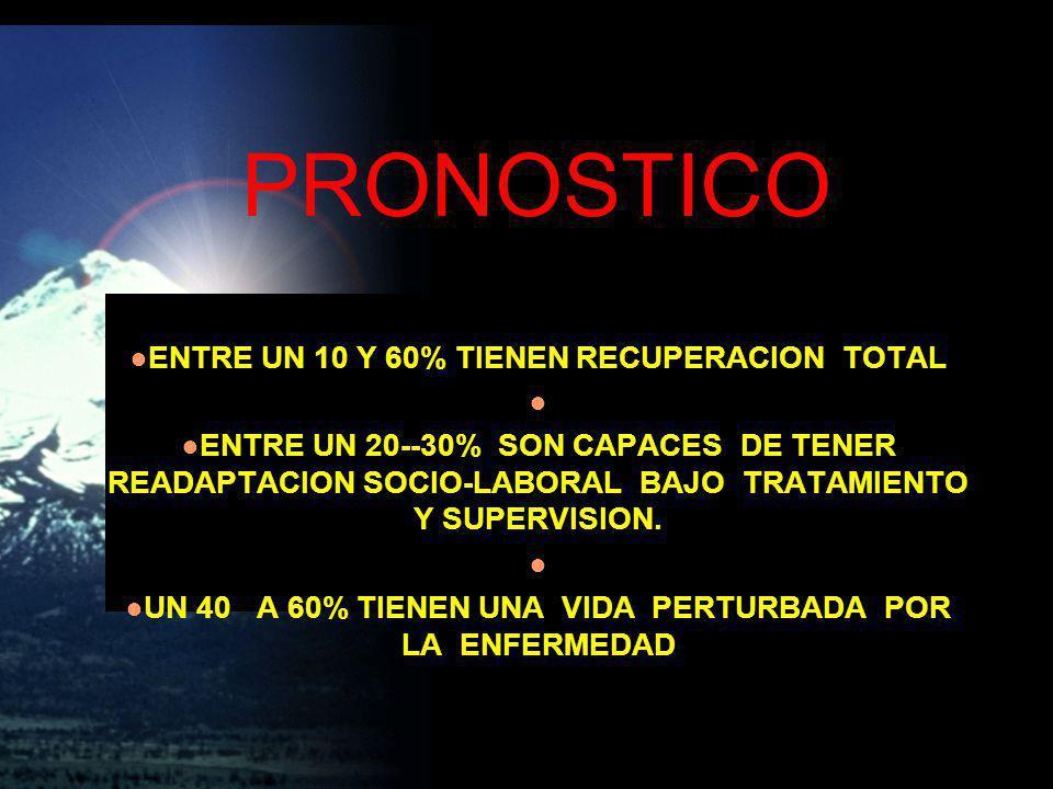 PRONOSTICO ENTRE UN 10 Y 60% TIENEN RECUPERACION TOTAL