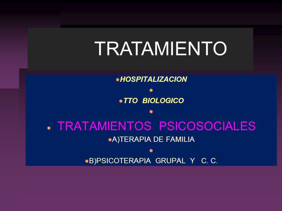 TRATAMIENTO HOSPITALIZACION TTO BIOLOGICO TRATAMIENTOS PSICOSOCIALES
