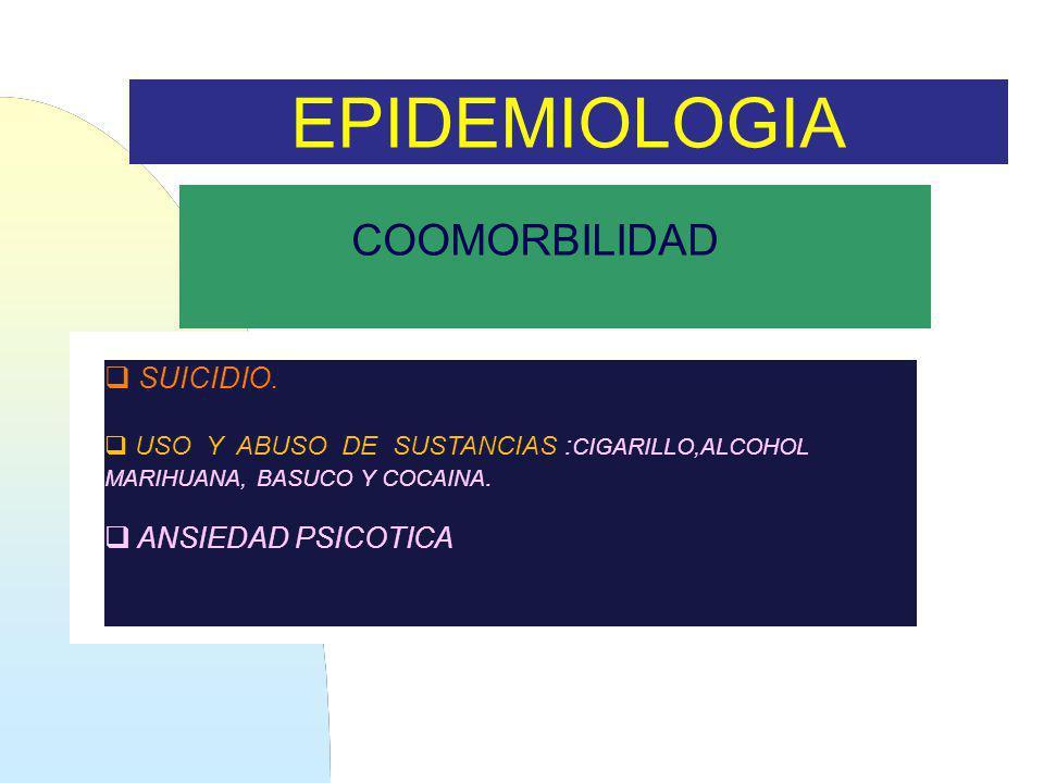 EPIDEMIOLOGIA COOMORBILIDAD SUICIDIO. ANSIEDAD PSICOTICA
