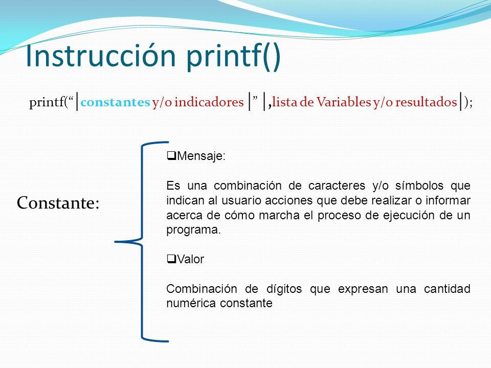 Instrucción printf() Constante: