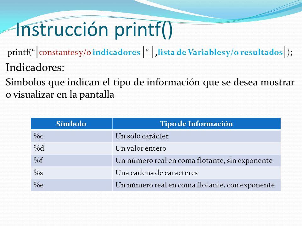 Instrucción printf() Indicadores: