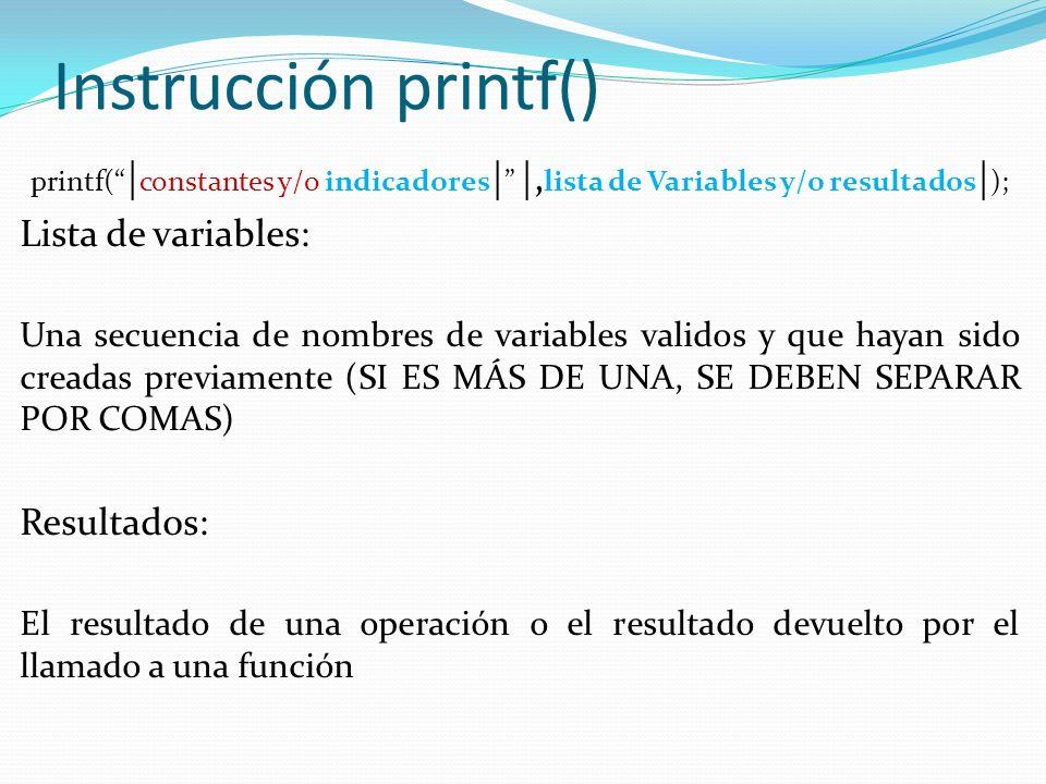 Instrucción printf() Lista de variables: Resultados: