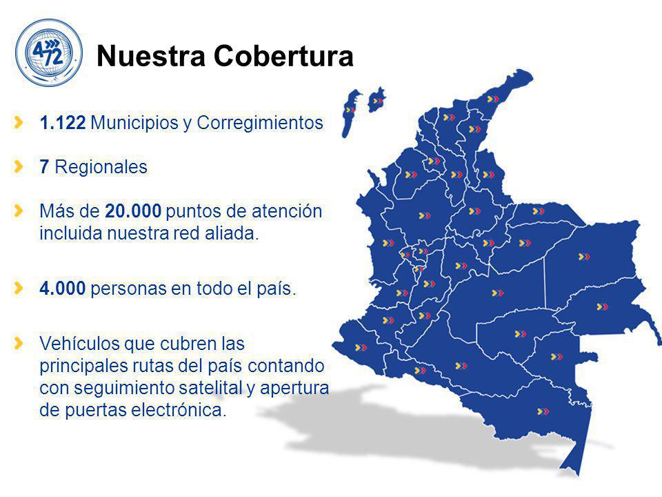 Nuestra Cobertura 1.122 Municipios y Corregimientos 7 Regionales