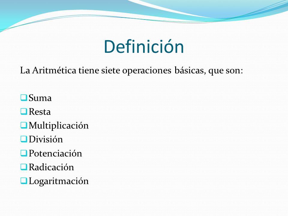 Definición La Aritmética tiene siete operaciones básicas, que son: