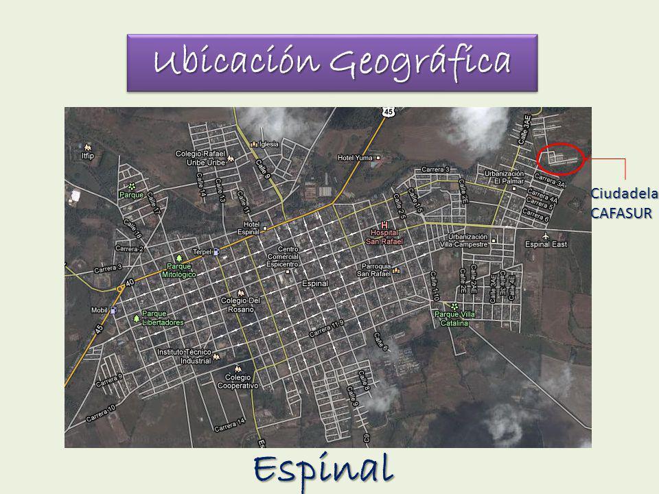 Ubicación Geográfica Ciudadela CAFASUR Espinal