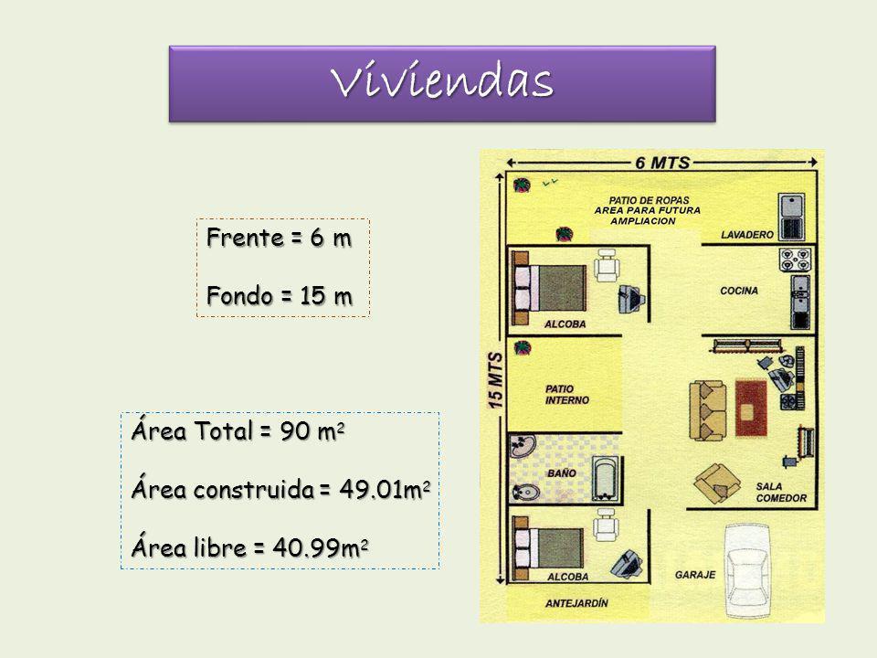 Viviendas Frente = 6 m Fondo = 15 m Área Total = 90 m2