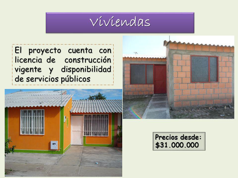 Viviendas El proyecto cuenta con licencia de construcción vigente y disponibilidad de servicios públicos.