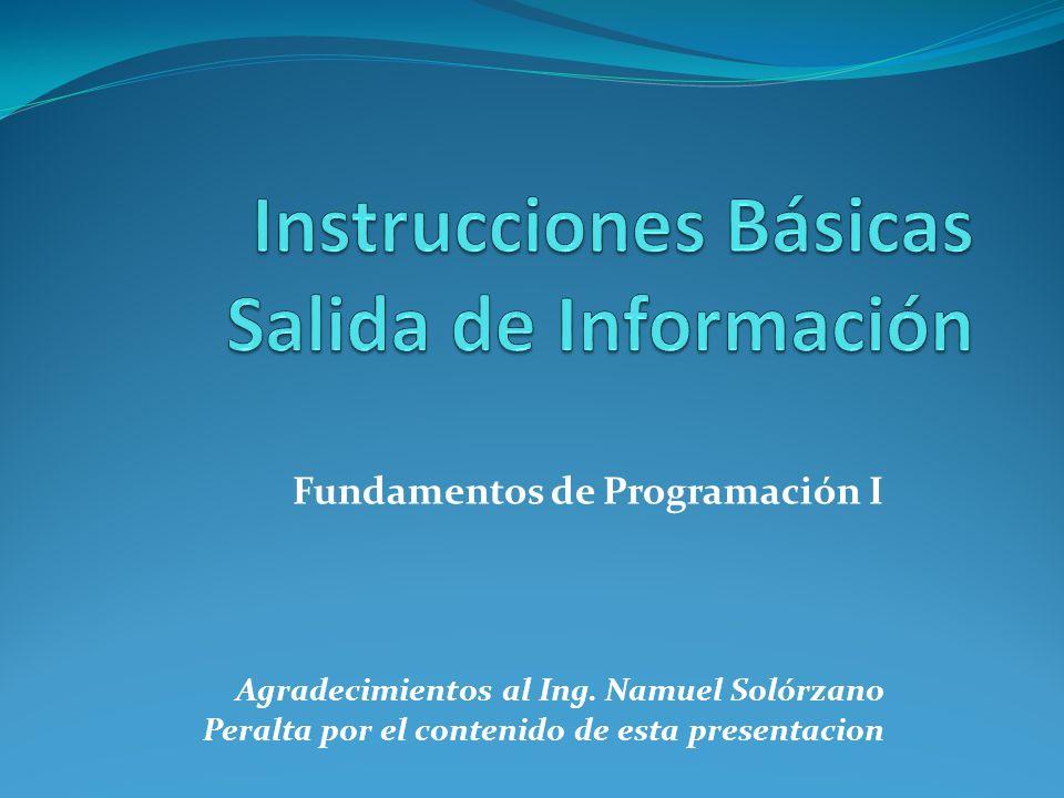 Instrucciones Básicas Salida de Información