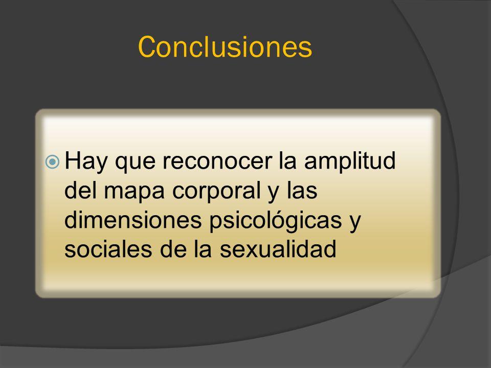 Conclusiones Hay que reconocer la amplitud del mapa corporal y las dimensiones psicológicas y sociales de la sexualidad.