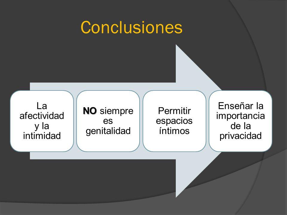Conclusiones La afectividad y la intimidad NO siempre es genitalidad