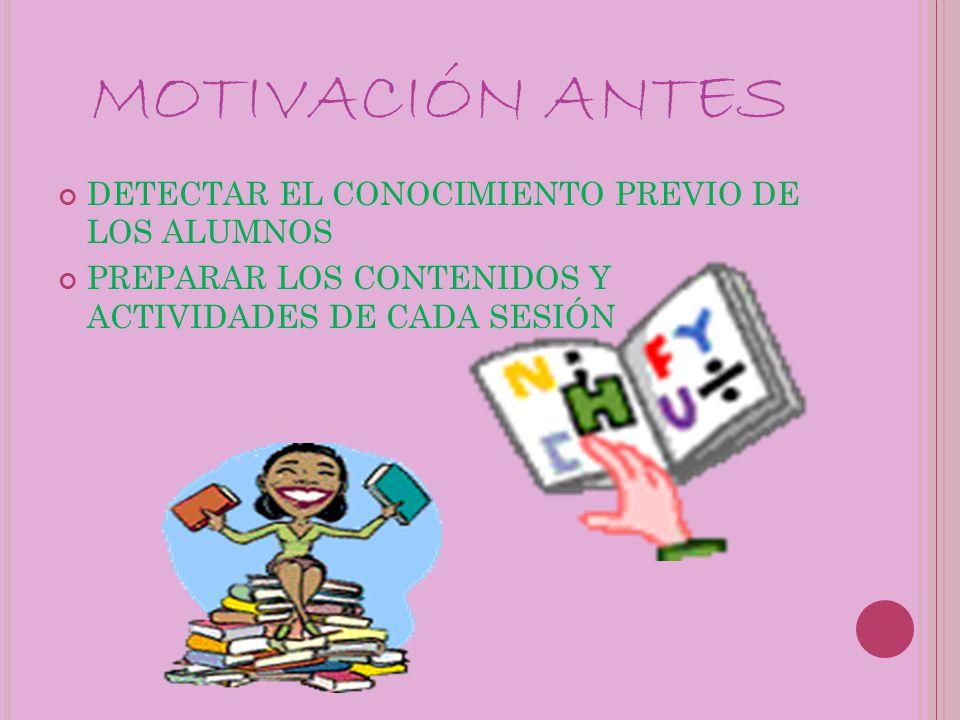 MOTIVACIÓN ANTES DETECTAR EL CONOCIMIENTO PREVIO DE LOS ALUMNOS