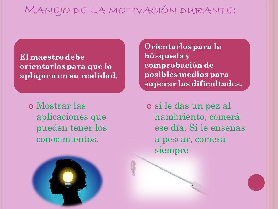 Manejo de la motivación durante: