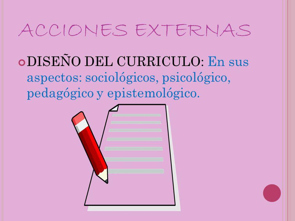 ACCIONES EXTERNAS DISEÑO DEL CURRICULO: En sus aspectos: sociológicos, psicológico, pedagógico y epistemológico.