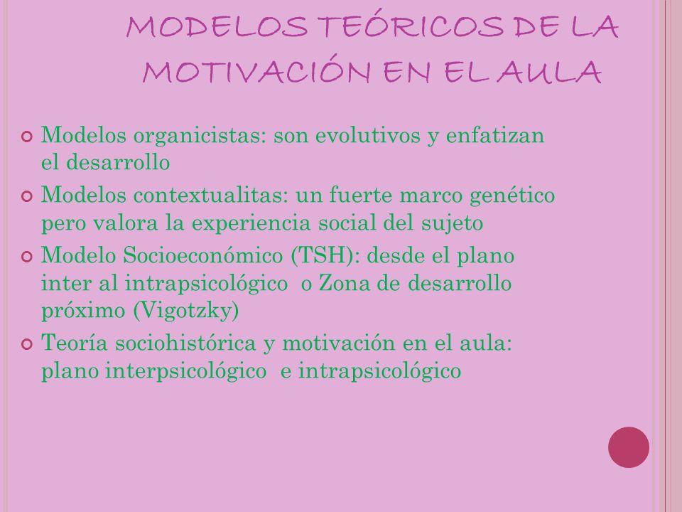 MODELOS TEÓRICOS DE LA MOTIVACIÓN EN EL AULA
