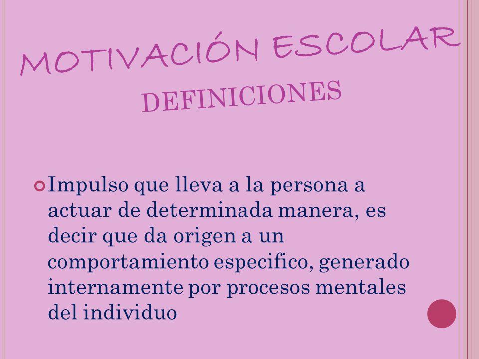 MOTIVACIÓN ESCOLAR definiciones