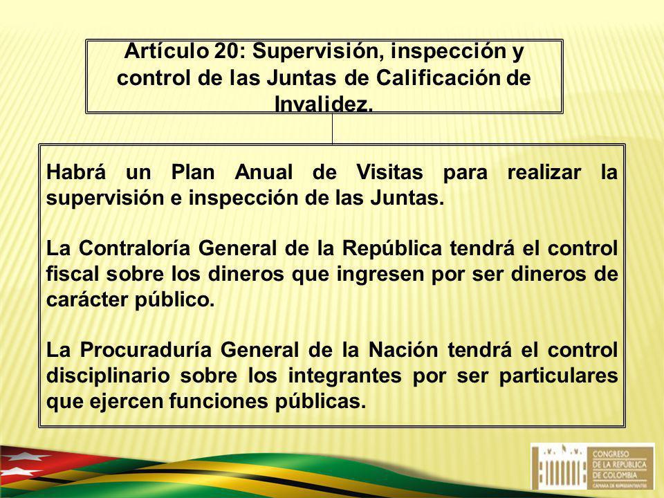 Artículo 20: Supervisión, inspección y control de las Juntas de Calificación de Invalidez.