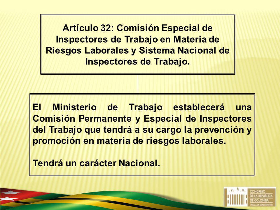 Artículo 32: Comisión Especial de Inspectores de Trabajo en Materia de Riesgos Laborales y Sistema Nacional de Inspectores de Trabajo.