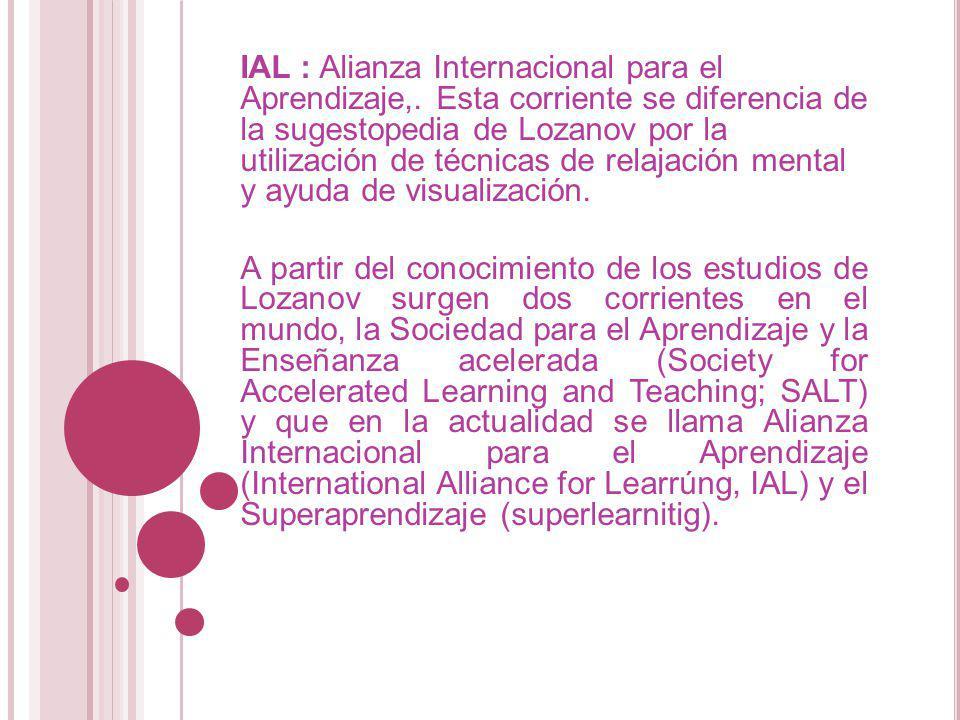 IAL : Alianza Internacional para el Aprendizaje,