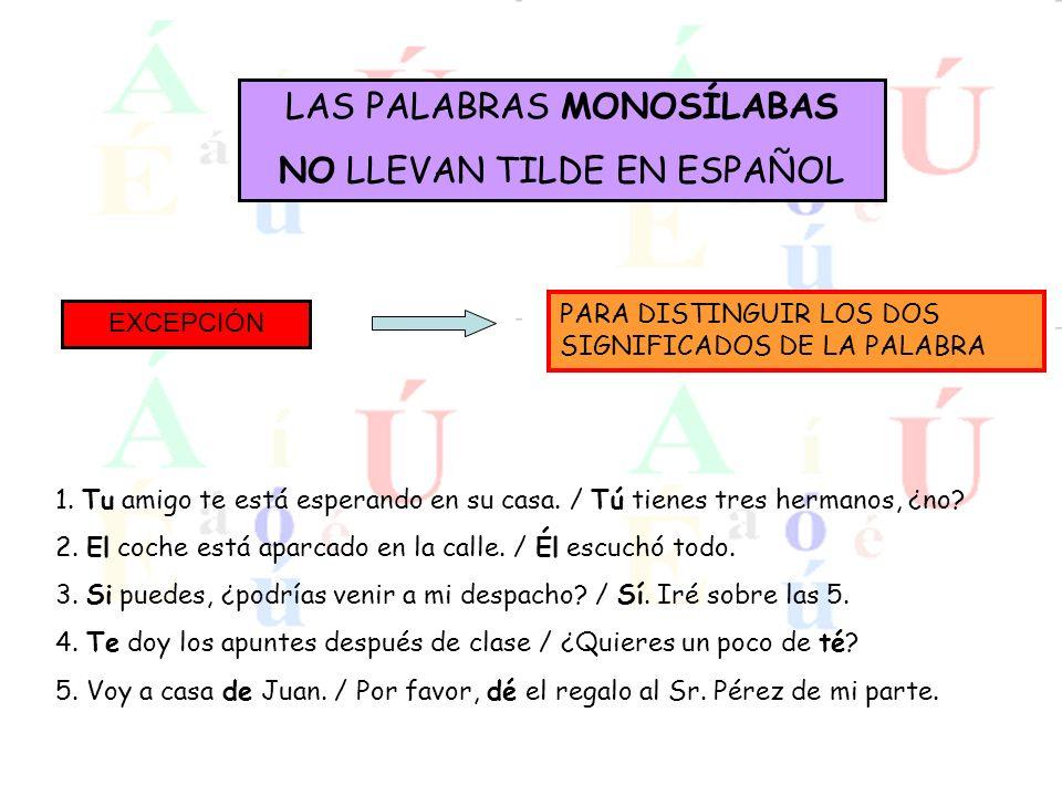 LAS PALABRAS MONOSÍLABAS NO LLEVAN TILDE EN ESPAÑOL
