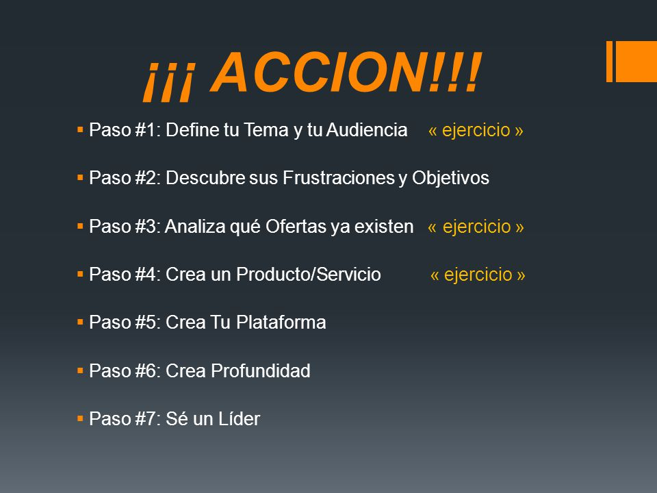 ¡¡¡ ACCION!!! Paso #1: Define tu Tema y tu Audiencia « ejercicio »