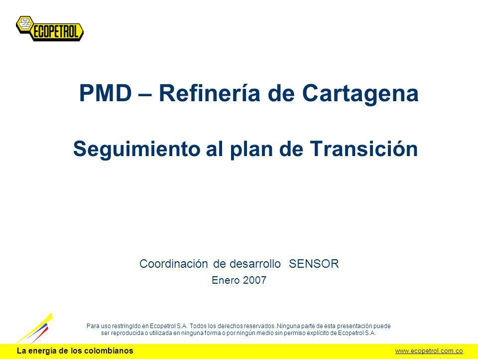 PMD – Refinería de Cartagena Seguimiento al plan de Transición