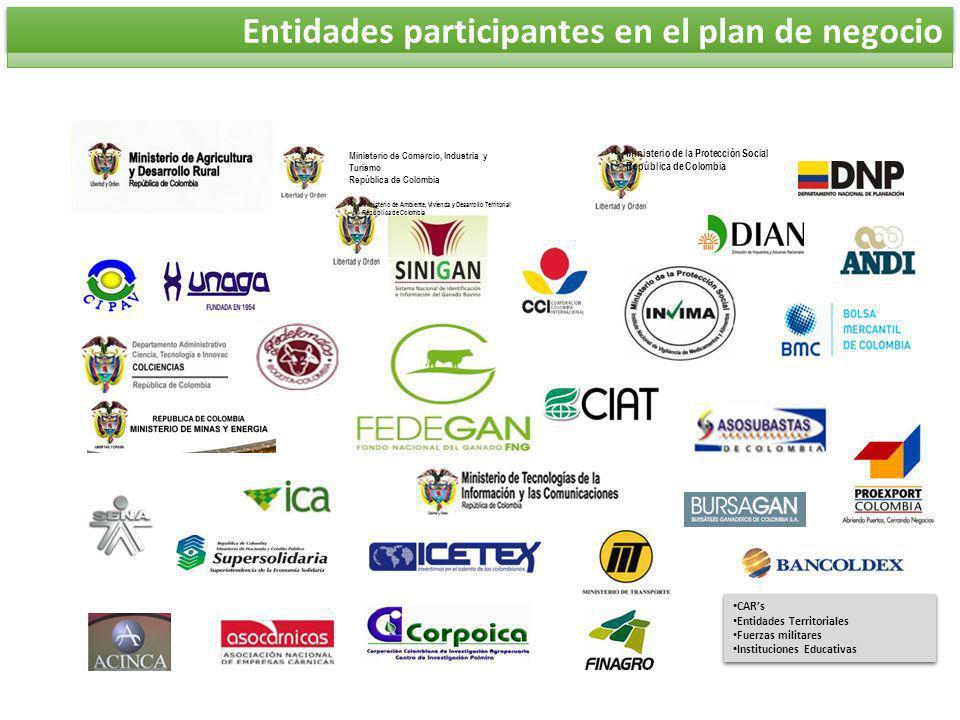Entidades participantes en el plan de negocio